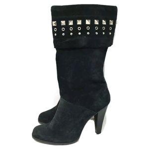 Michael Kors Boots Black Suede Mid Calf 6M